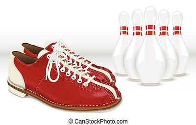 Red-White Skittles and Bowling shoes on a white background