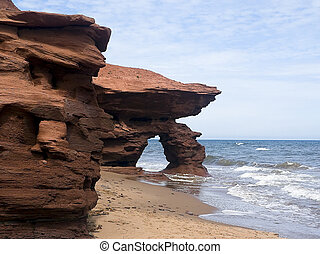 Red Seaview Cliffs, PEI, Canada - The eroding cliffs at...