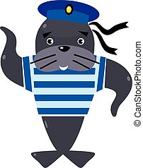 Funny seal sailor - Funny jolly seal-sailor in vest and...