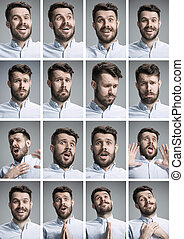 Set of young mans portraits with different emotions on gray...