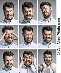 Set of young mans portraits with different emotions - Set of...