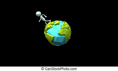 Paper men walking around the earth