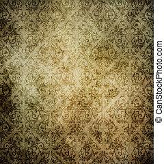 gammal, Årgång, mönster, papper, smutsa ner, bakgrund