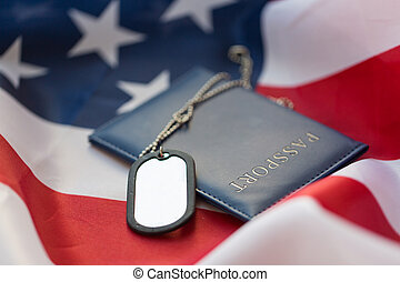 american flag, passport and military badge - military...