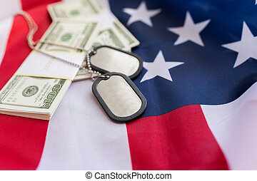 american flag, dollar money and military badges - military...