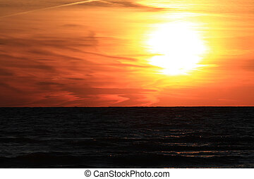 Sunset on Lake Huron in late spring