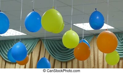 hanging balloons from ceiling celebration birthday slow...