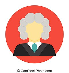 Judge avatar flat icon Judge in a wig