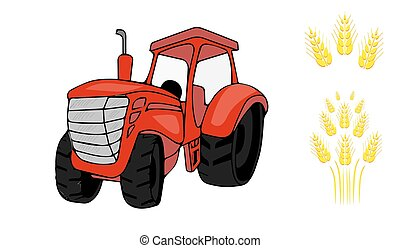 Flat tractor on white background. Tractor with sheaf. Vector illustration