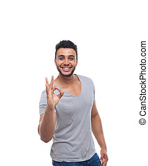 Casual Man Hold Okey Gesture Sign Happy Smile Young Handsome...