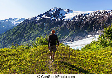 Hike in Exit glacier - Hiker in Exit Glacier, Kenai Fjords...