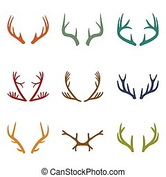 Vector set of vintage deer antlers