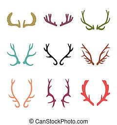 Vector set of vintage deer antlers