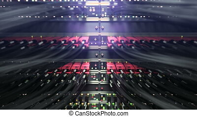 Modern network switch with cables. repeately move server. 3d...