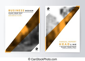 Flyer cover design yellow. Template brochure.