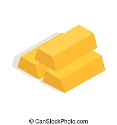 Gold bars icon, isometric 3d style - Gold bars icon in...