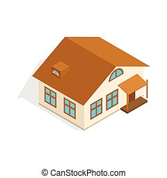 One storey house with porch icon in isometric 3d style...