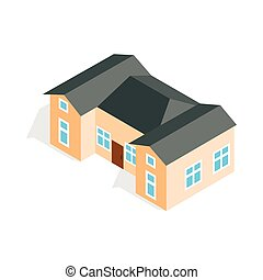 House with two outbuildings icon in isometric 3d style...