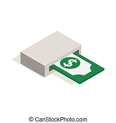 Output of banknotes from atm icon in isometric 3d style...