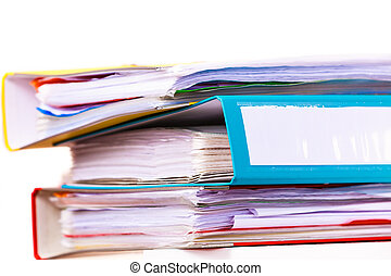Many file folders, ring binders on office table - Paperwork...