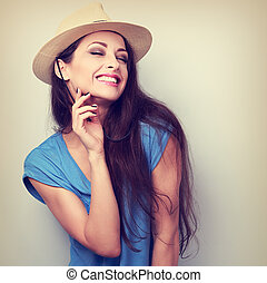 Happy casual toothy laughing woman in summer hat Vintage...