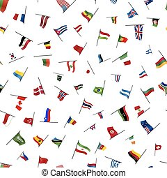 Many flags on a pole on white, seamless pattern - A lot of...