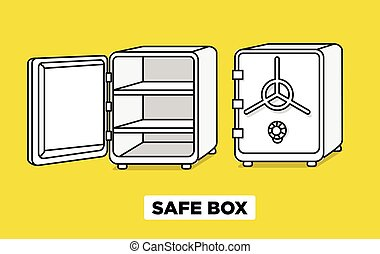 Vector flat line safe boxes open and closed, locked with code lock, empty safe box. Hand drawn illustration. Isometric view.