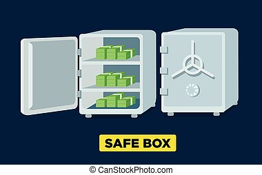 Vector flat safe boxes open and closed, locked with code lock, empty safe box. Isometric view.