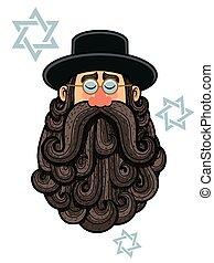 Rabbi Portrait - Cartoon Illustration of rabbi with big...
