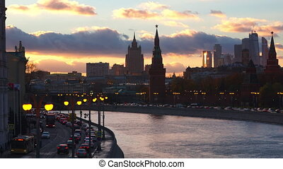 Moscow evening timelapse involving Moscow river, Kremlin and Moscow City center