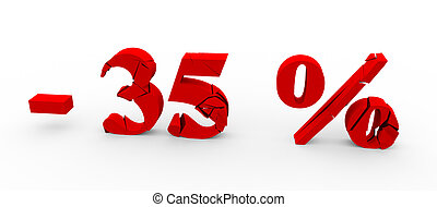 35 percent discount icon on white background 3D