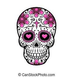 Day Of The Dead Skull. sugar flower tattoo. Vector...