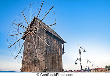 Nessebar, Bulgaria - Wind mill at Nessebar in Bulgaria