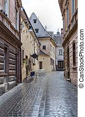 Brasov, Transylvania, Romania - Street in old town Brasov,...