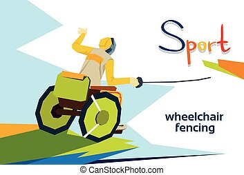 Fencer On Wheel Chair Disabled Athlete Fencing Sport...