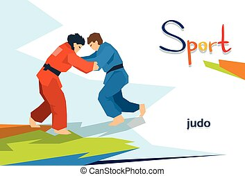 Disabled Athletes Judo Opponents Sport Competition Flat...