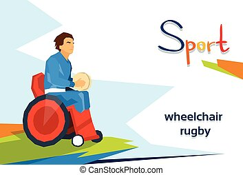 Disabled Athlete Play Rugby On Wheelchair Sport Competition