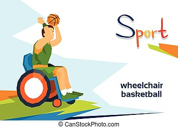 Disabled Basketball Player On Wheelchair Sport Competition...