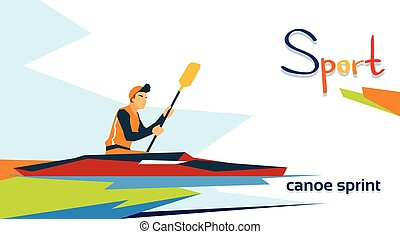 Disabled Athlete Canoe Sprint Sport Competition Flat Vector...