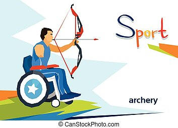 Disabled Athlete On Wheelchair Archery Sport Competition