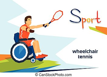 Disabled Athlete On Wheelchair Play Tennis Sport Competition