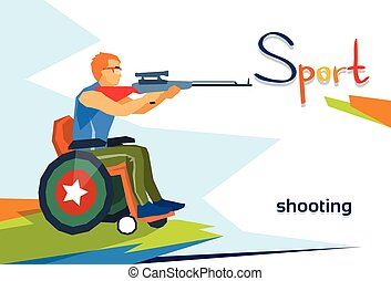 Disabled Athlete On Wheelchair Shooting Sport Competition