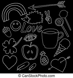 hand drawn doodles collection vector illustration coffee, apple, ice cream, heart
