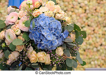 Beautiful blue Hydrangea macrophylla in bouquet of bride