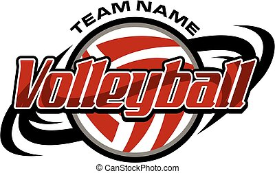 volleyball team design with ball and swishes for school,...