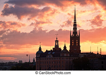 Stockholm city view at the sunset.