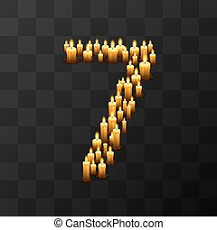 Tribulation numbers 7 of candles, transparent background,...