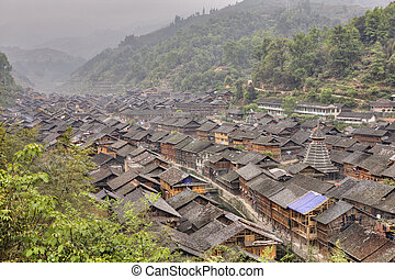 Zhaoxing Dong Village, located in Liping County, Guizhou...