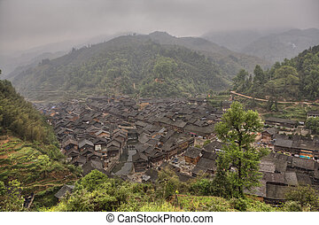 Top view on Zhaoxing Village Dong ethnic minority, Guizhou,...