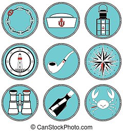 Nautical elements type 4 icons in knotted circle including...